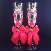 розовые свадбеные бокалы ручной работы фото