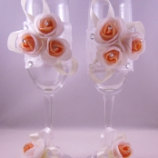 бежевые свадебные бокалы купить