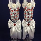 свадебные бокалы с красными стразами фото sale-svadba.ru