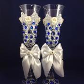 свадебные бокалы с синими стразами sale-svadba.ru