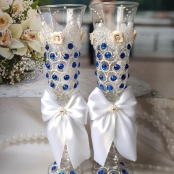 синие свадебные бокалы фото