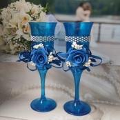 бокалы из синего стекла на свадьбу купить