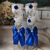 свадебные бокалы синие купить сегодня
