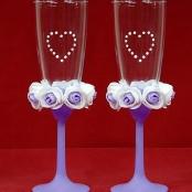 свадебные бокалы сиренево-фиолетовые купить