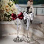 фужеры для шампанского свадебные жених и невеста марсала фото
