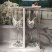 свадебныебокалы серебристые фото