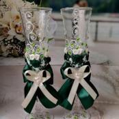 изумрудные, зеленые свадебные бокалы ручной работы купить