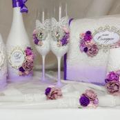 фиолетовые свадебные аксессуары фото