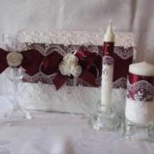 свадебный набор бордовый фото