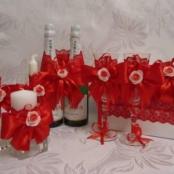 красный свадебный набор фото