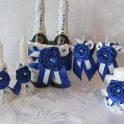 свадебный набор сине-белый фото