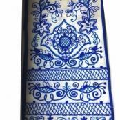 льняной синий вышитый рушник на свадьбу