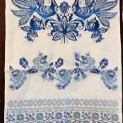 рушник льняной синий с вышивкой на свадьбу