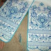 синий свадебный льняной рушник