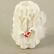свеча очаг резная белая с лебедями фото