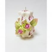 свеча бело-салатавая с розовыми цветами фото