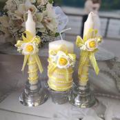 жлтые свадебные свечи очаг фото