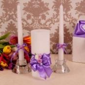 свечи очаг сиреневые с цветами купить