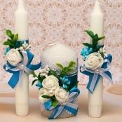 светло-синие свадебные свечи фото