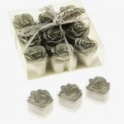 свечи серебристые сердца с розами