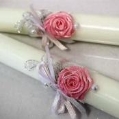 свечи свадебные розовые розы