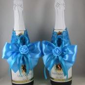 украшение для свадебного шампанского бирюзовое купить