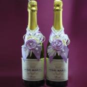 украшение на шампанское сиреневый, айвори купить