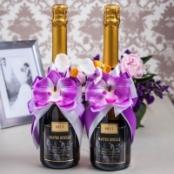 украшение на шампанское фиолетовые орхидеи