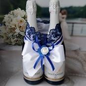 сине-белое свадебное шампанское фото