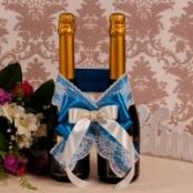 украшение на шампанское синее фото
