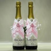 украшение на шампанское, украшение шампанского на свадьбу