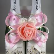 украшение на шампанское розовое фото