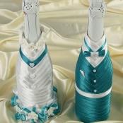 украшение на свадебное шампанское бирюзовое купить