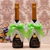 украшение на шампанское зеленое фото