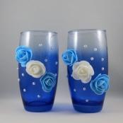 синие вазочки для украшения стола молодоженов