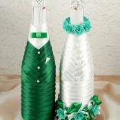 украшение на шампанское тубы зеленые  яблочные