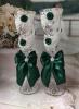 """Белые свадебные бокалы изумрудные """"Вихрь"""" 2 шт 23см 002503"""