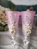 Бокалы на свадьбу розовые с ручной работы 2 шт. 23см 002538