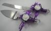 нож и лопатка для свадебного торта фиолетовые купить