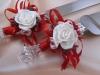 красивые красные нож и лопатка для свадебного торта фото