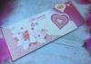 Пригласительные-конверты  на свадьбу орхидеи, сердца 8*15см  001802