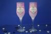 свадебные бокалы с ангелочками, розовые свадебные бокалы
