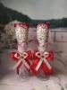 Свадебные бокалы красные с ромашками ручная работа 23см 2 шт. 002511