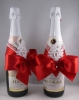 украшение на шампанское в красном цвете
