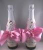 розовая свадьба украшения на шампанское